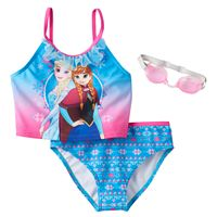 Disney's Frozen Elsa & Anna Girls 4-6x 2-pc. Mesh Ruffle Tankini Swimsuit Set