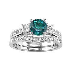 10k White Gold Lab-Created Emerald, White Sapphire & 1/6 Carat T.W. Diamond Engagement Ring Set by