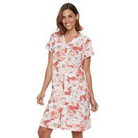 Women's Miss Elaine Essentials Floral Knit Short Robe