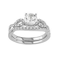 10k White Gold Lab-Created White Sapphire & 1/6 Carat T.W. Diamond Engagement Ring Set