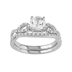 10k White Gold Lab-Created White Sapphire & 1/6 Carat T.W. Diamond Engagement Ring Set by