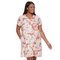 Plus Size Miss Elaine Essentials Floral Knit Short Robe