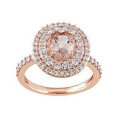 14k Rose Gold Morganite & 9/10 Carat T.W. Diamond Oval Halo Engagement Ring