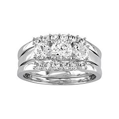 10k White Gold Lab-Created White Sapphire 3-Piece Engagement Ring Set by