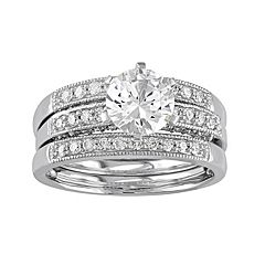 10k White Gold Lab-Created White Sapphire & 3/8 Carat T.W. Diamond 3-Piece Engagement Ring Set by Sapphire Sets