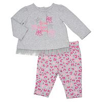 Baby Girl Vitamins Baby Gpaphic Tulle Tee & Leggings Set