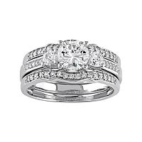 10k White Gold Lab-Created White Sapphire & 1/4 Carat T.W. Diamond 3-Piece Engagement Ring Set