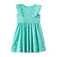 Toddler Girl Jumping Beans® Pom-Pom Trim Flutter Short Sleeve Pattern Slubbed Dress