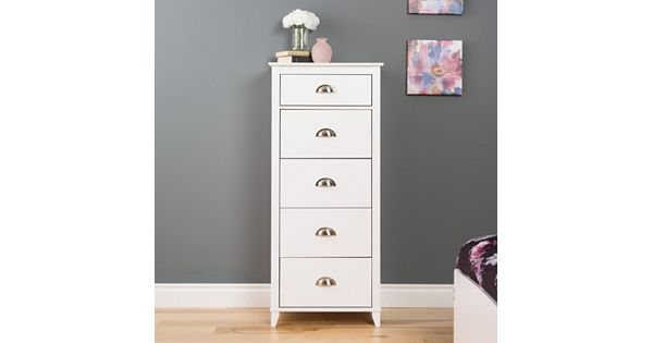 New Bookcase Toy Box White Finish Bedroom Playroom Child: Prepac Yaletown 5-Drawer Tall White Dresser