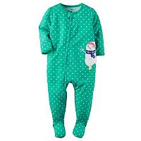Baby Girl Carter's Printed Embroidered Footed Pajamas