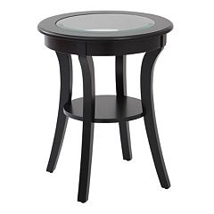 OSP Designs Harper Glass Top Round End Table  by