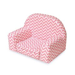 Badger Basket Pink Chevron Upholstered Doll Chair with Foldout Bed  by
