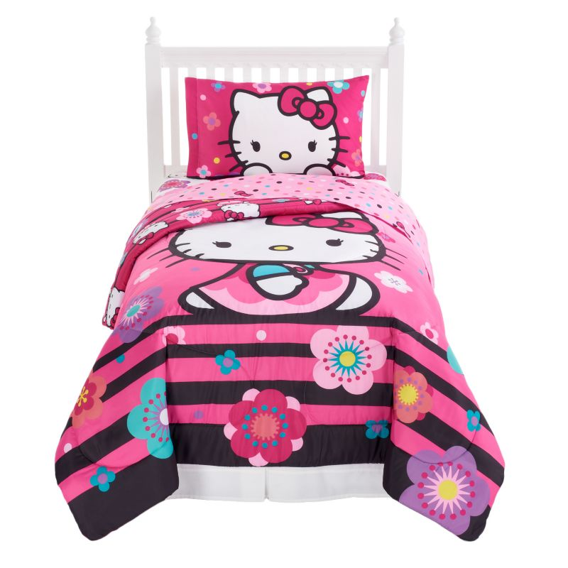 Hello Kitty Floral Ombre 4-Piece Bed Set, Pink
