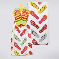 Celebrate Summer Together Button-Top Flip-Flop Kitchen Towel 2-pk.