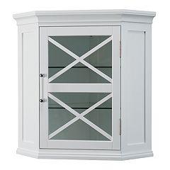 Elegant Home Fashions Wyatt Corner Wall Storage Cabinet by
