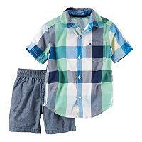 Toddler Boy Carter's Short Sleeve Plaid Button-Down Shirt & Chambray Shorts Set