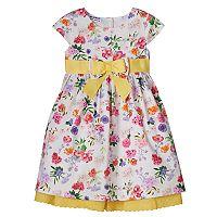 Toddler Girl Blueberi Boulevard Pique Knit Floral Dress