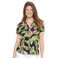 Women's Caribbean Joe Button Front Camp Shirt