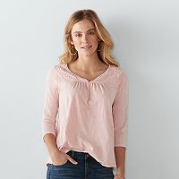 Women's SONOMA Goods for Life™ Embroidered Splitneck Top