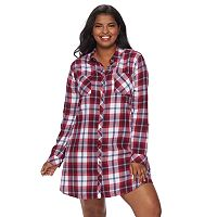 Juniors' Plus Size SO® Long Sleeve Flannel Shirtdress