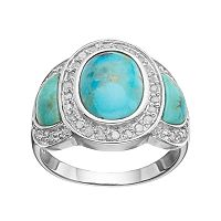 Sterling Silver Simulated Turquoise & 1/4 Carat T.W. Diamond 3-Stone Ring
