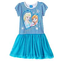 Disney's Frozen Anna & Elsa Girls 4-6x Glitter Striped Drop-Waist Dress