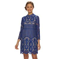 Juniors' Up by ultra pink Mockneck Lace Shift Dress