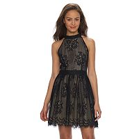 Juniors' Up by ultra pink Floral Lace Halter Dress
