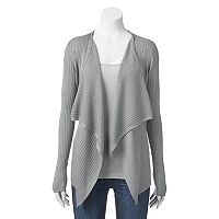 Juniors' Cloud Chaser Draped Open Front Cardigan