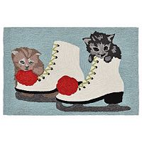 Trans Ocean Imports Liora Manne Frontporch Kittens and Ice Skates Indoor Outdoor Rug