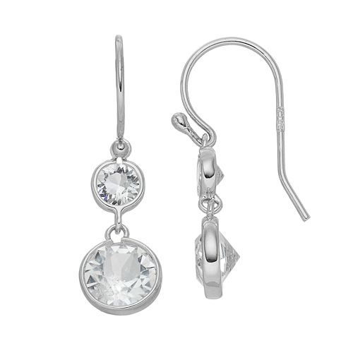 Brilliance Drop Earrings with Swarovski Crystals, Women's, White