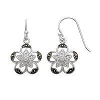 Silver Plated Crystal & Marcasite Flower Drop Earrings