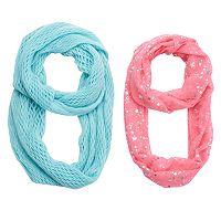 Girls 4-16 2-pk. Printed Foil & Solid Knit Scarves