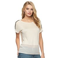 Women's Juicy Couture Mixed-Media Glitter Tee