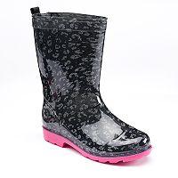 Girls 4-16 Capelli Glitter Leopard Rain Boots