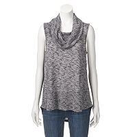 Women's Angels Cowlneck Marled Sleeveless Top