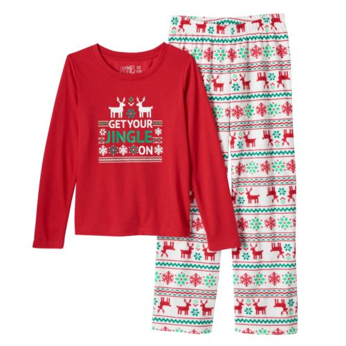 "Jammies For Your Families Toddler Boy ""Get Your Jingle On"" Fairisle Pajama Set"
