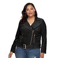 Plus Size Jennifer Lopez Faux-Suede Moto Jacket