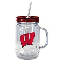 Boelter Brands Wisconsin Badgers 20-Ounce Plastic Mason Jar Tumbler