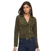Women's Jennifer Lopez Faux-Suede Moto Jacket