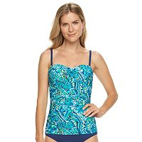 Women's Chaps Tummy Slimming & Body Sculptor Paisley One-Piece Swimsuit