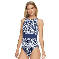 Women's Chaps Floral High-Neck One-Piece Swimsuit