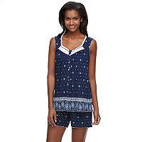 Women's Croft & Barrow® Pajamas: Soft Meadows Embroidered Tank & Shorts PJ Set