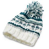 Women's Mudd® Fairisle Knit Pom-Pom Beanie