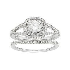14k White Gold 1 Carat T.W. IGL Certified Diamond Square Halo Engagement Ring Set by