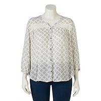 Juniors' Plus Size Mudd® Button Front Crochet Peasant Top