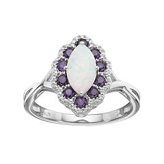 Sterling Silver Lab-Created Opal & Amethyst Marquise Ring by