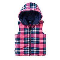 Girls 7-16 Sugar Rush Plaid Hooded Puffer Vest
