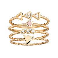 LC Lauren Conrad Cubic Zirconia Triangle & Circle Stackable Ring Set