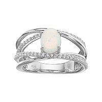 Sterling Silver Lab-Created Opal & Lab-Created White Sapphire Crisscross Ring